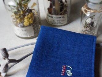 手刺繍入り4重ガーゼハンカチ「イニシャルR」[受注制作]の画像