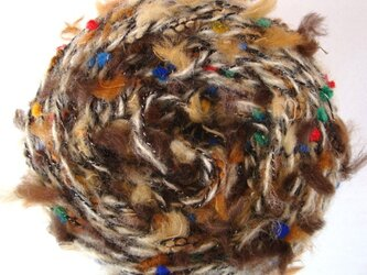 茶色モフモフ&カラフルツブツブ糸の画像