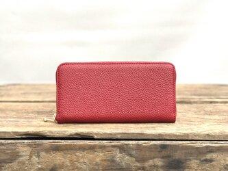 シュリンクレザー 長財布 / ラウンドファスナー 財布 / レッド 赤 革の画像