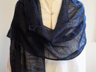 藍染 レーヨン麻ストール 紫紺(しこん)の画像