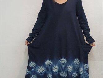 藍染 長袖ワンピースの画像
