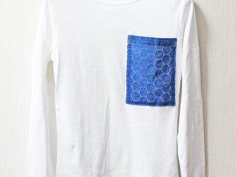 藍染め半袖 綿 Tシャツ L レディース レース(APT-2)の画像
