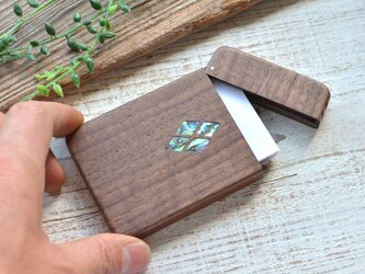 木製名刺入れ【シェル/菱形】ウォールナットの画像