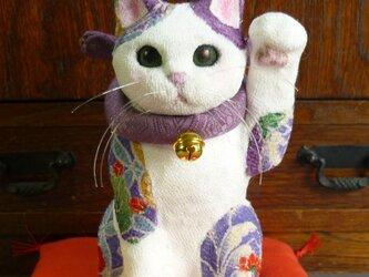 若紫 招き猫 左手招き 11月12月中金の延べ棒1本のおまけ付の画像