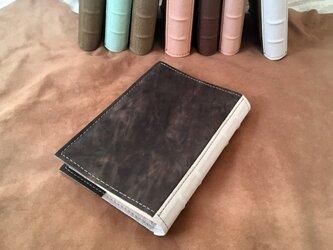 洋古書風のブック・ブックカバー/マットブラック×ホワイトの画像