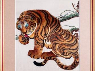 手刺繍 MPK刺繍絵(伊藤若冲の虎)の画像