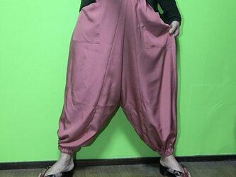 値下げ! アラジンパンツ de 着物 オレンジピンクの画像