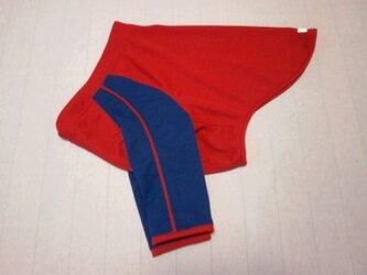 犬服 K様オーダーメイド品:大型犬用長袖Tシャツ(紺&赤)の画像