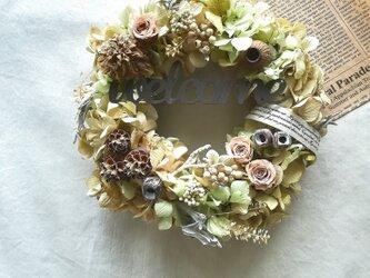【送料無料】ドライアジサイとピンクローズのwelcome   wreathの画像