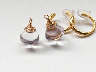 ☆[EC] Pink Amethyst (onion) Ear Clipsの画像