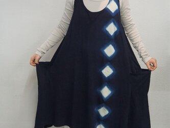 藍染 タンクトップワンピース ひし形の画像