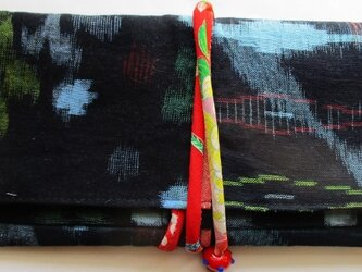 送料無料 着物リメイク 絣で作った和風財布 3008の画像
