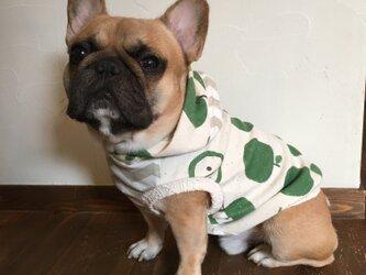 犬服【オーダー製作】フード付きタンクトップ・青りんご柄の画像