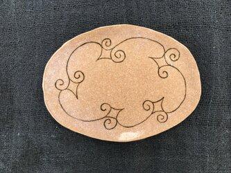 アイヌ模様の楕円中皿 茶の画像