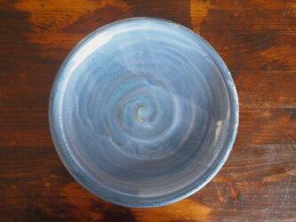 カレー皿 釉流れ(ホワイトブルー)の画像