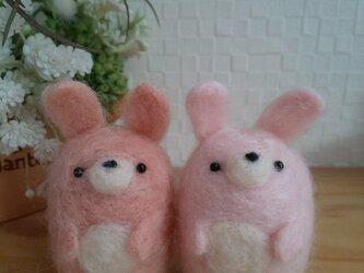 つぶらな瞳のウサギさん ナチュラルピンク/ライトピンク 羊毛フェルトの画像