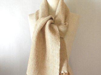手織り 紅茶で染めた羊毛のマフラー(1)の画像