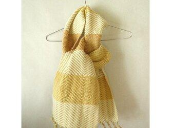 手織り よもぎや菊で染めた羊毛のマフラー(2)の画像