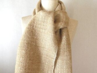 手織り たまねぎの皮で染めた羊毛のマフラー(4)の画像