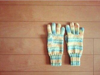 カラフルモヘアの手袋(オレンジ系)の画像