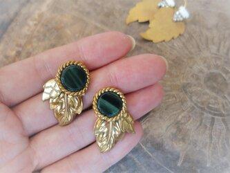 リーフピアス ヴィンテージグリーン vintage pierced earrings <PE-lfgr>の画像