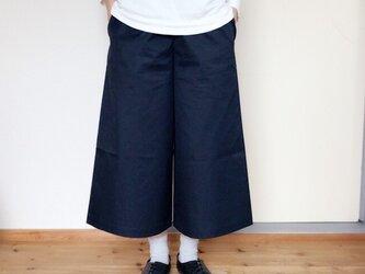 【受注生産】コットンワイドパンツ8分丈  ネイビーの画像