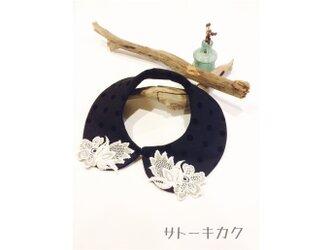 つけ襟☆ドットフロッキー ×刺繍レース(グレー)【送料無料】の画像