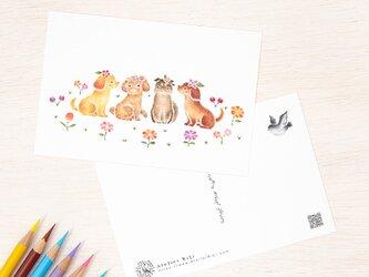 """5枚セット。絵本のような。ポストカード """"花を飾った子犬たち"""" PC-331の画像"""