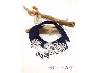 つけ襟☆(黒)紺色シャンタン×刺繍レース☆の画像