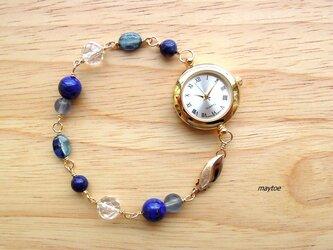 ラピスラズリ*14kgfジュエリー腕時計の画像