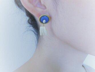 ヴィンテージブルー&パールピアス vintage pearl earrings <PE-plbl>の画像