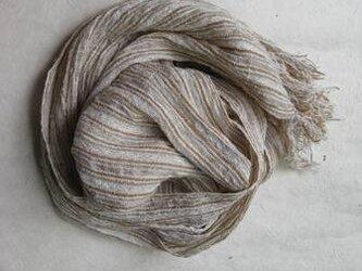 手織りの白いしぼストール(コットン・リネン)の画像