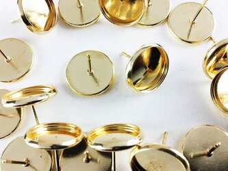 送料無料 ミール皿 付き ピアス ゴールド 20個 ピアスパーツ (AP0300)の画像