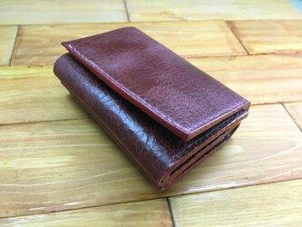 手のひらサイズ!三つ折りミニミニ財布Pタイプ【豚クラックレザー赤】の画像