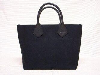 皮革ハンドルミニトートバッグ(ブラック)の画像