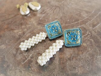 ブレイドパールピアス vintage pearl earrings <PE-blmspl>の画像