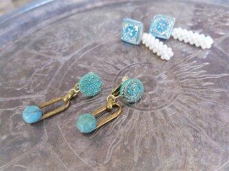 ターコイズグラスイヤリング vintage earrings turquoise <ER-tqw>の画像