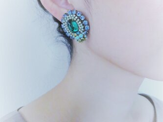 ヴィンテージビジューイヤリング vintage earrings <ER-RBblgr>の画像