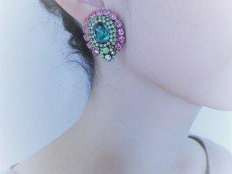 ヴィンテージビジューイヤリング vintage earrings <ER-RBpkgr>の画像