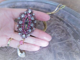 ヴィンテージビジューネックレス ピンク vintage necklace pink <NC-RBpink>の画像