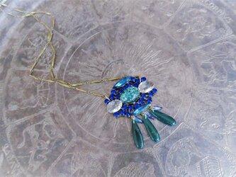 ヴィンテージビジューネックレス ブルー vintage necklace blue <NC-RBblue>の画像