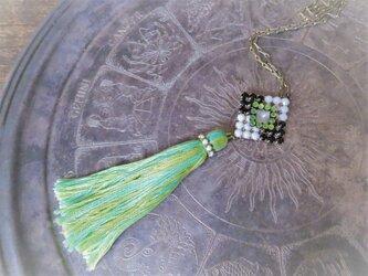 タッセルネックレス グリーン ヴィンテージビジュー vintage tassel necklace <NC-RBwb>の画像