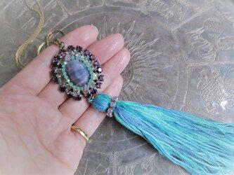 タッセルネックレス ブルー ヴィンテージビジュー vintage tassel necklace <NC-RBpl>の画像