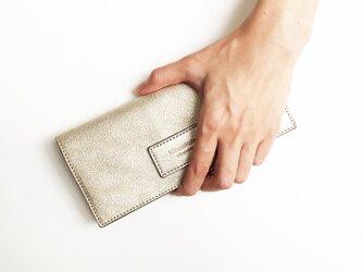 シャンパンゴールド 牛革薄い長財布の画像