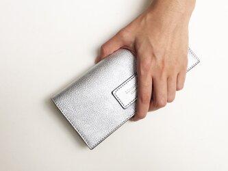プラチナ 牛革薄い長財布の画像