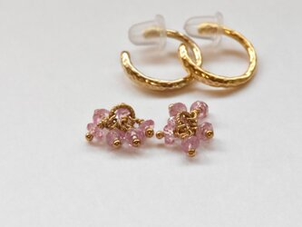 [EC] Bouquet (Pink Sapphire) Ear Clipsの画像