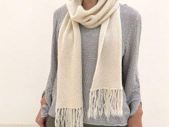 ベビーアルパカマフラー、アルパカ100%の手編み無地ニットマフラーの画像