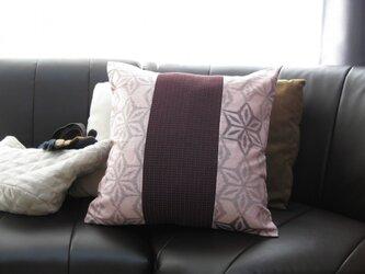 再販 クッションカバー②  ピンク地に麻の葉×エンジ 151515PI-A-E-2の画像