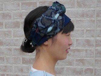 絣x藍x蚊帳のボリュームターバンの画像