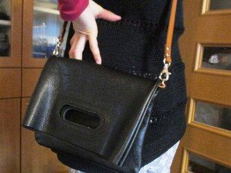 【新作・ブラックシボ革】革の袋・2ウェイバッグ・ハードタイプ角型の画像